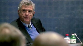 """(FILES) A picture taken from a handout film released by the FIFA shows the organization's vice-president Angel Maria Villar Llona of Spain attending an extraordinary FIFA's executive committee at football's world body headquarters in Zurich on October 20, 2015. FIFA lifted a new corner of its veil of secrecy on October 21, 2015 by revealing that German football great Franz Beckenbauer and the current most senior UEFA official Angel Maria Villar Llona have been investigated. It said inquiries for alleged misconduct by the two were now in the hands of the FIFA ethics committee's main court for a decision. The ethics committee did not say why the two had been investigated, but Beckenbauer and Villar Llona were on the FIFA executive committee when Russia and Qatar were awarded the 2018 and 2022 World Cups. AFP PHOTO / FIFA = RESTRICTED TO EDITORIAL USE - MANDATORY CREDIT """"AFP PHOTO / FIFA"""" - NO MARKETING NO ADVERTISING CAMPAIGNS - DISTRIBUTED AS A SERVICE TO CLIENTS ="""