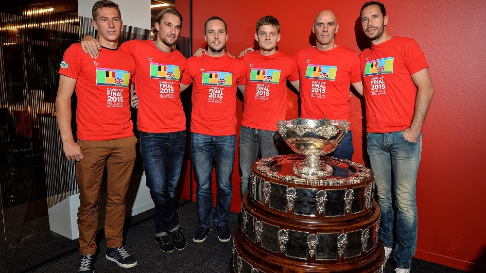 Belgium's Kimmer Coppejans, Ruben Bemelmans, Steve Darcis, David Goffin, Belgian captain Johan Van Herck and Davis Cup captain Johan Van Herck take part in a press conference ahead of the Davis Cup World Group final between Belgium and Britain, in Brussels on November 17, 2015. The final will be played from November 27 to 29, 2015 in Gent Flanders Expo.  AFP PHOTO / BELGA / DAVID STOCKMAN / AFP / BELGA / DAVID STOCKMAN