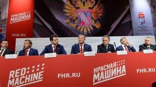 2729239 10/30/2015 Player of the SKA Ice Hockey Club Ilya Kovalchyuk, Head Coach of the Russian hockey team Oleg Znarok, member of the KHL Board, Advisor to the Chairman of the KHL Board of Directors and SKA Vice President Roman Rotenberg, President of the Russian Hockey Federation (RIHF) Vladislav Tretyak, Minister of Sports Vitaly Mutko and Head of the Moscow Department of Physical Fitness and Sports Alexei Vorobyev (from left to right) at the news conference of the RIHF and the 2016 IIHF Ice Hockey World Championship Organizing Committee in the GUM Demonstration Hall in Moscow. Alexey Filippov/RIA Novosti
