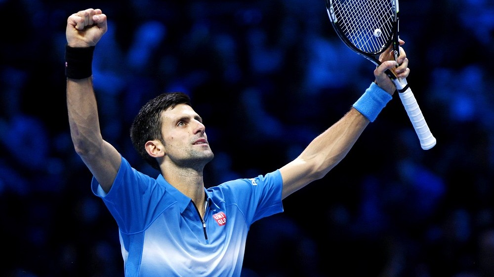 Novak Djokovic of Serbia celebrates after beating Rafael Nadal of Spain during Day 7 of the Barclays ATP World Tour Finals 2015 on November 21, 2015 played at The O2 in London, England. Photo Ella Ling / Backpage Images / DPPI