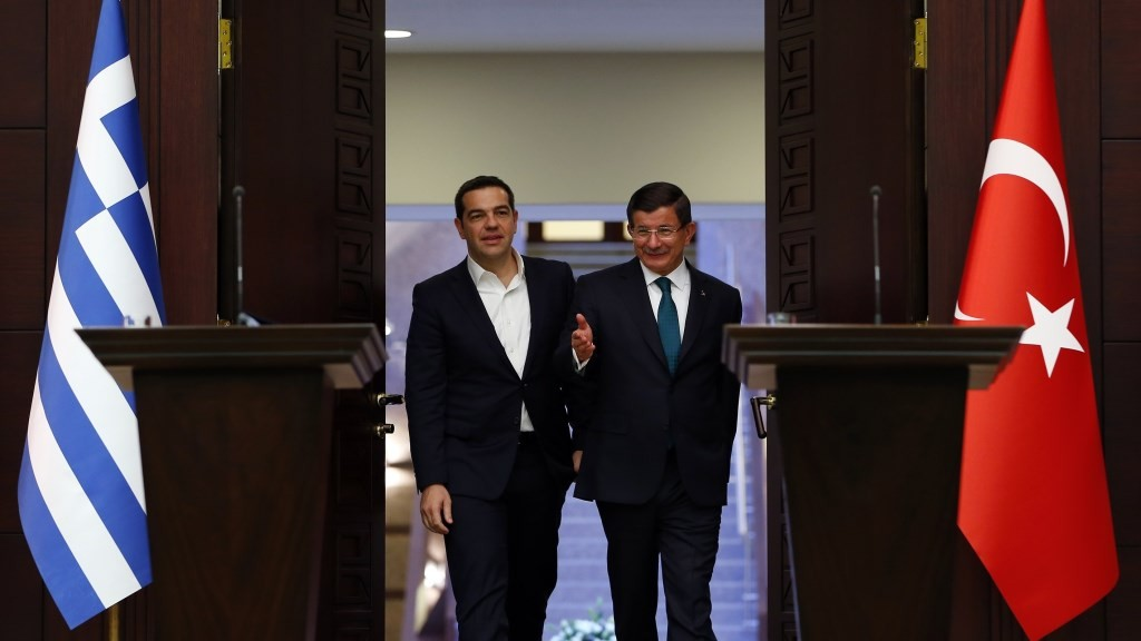ANKARA, TURKEY - NOVEMBER 18: Turkish Prime Minister Ahmet Davutoglu (R) and his Greek counterpart Alexis Tsipras (L) arrive for a press conference following their meeting at the Cankaya palace in Ankara, Turkey on November 18, 2015. Murat Kaynak / Anadolu Agency