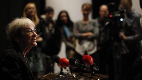 Budapest, 2015. november 23.Törőcsik Mari színésznő a 80. születésnapja alkalmából rendezett gálaest után tartott sajtótájékoztatón a Nemzeti Színházban 2015. november 23. A kétszeres Kossuth-díjas színművész, a nemzet színésze 1935. november 23-án született.MTI Fotó: Szigetváry Zsolt