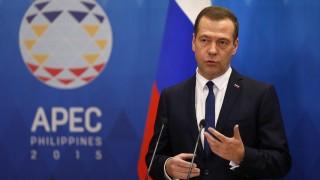 Manila, 2015. november 19. Dmitrij Medvegyev orosz miniszterelnök sajtóértekezletet tart az Ázsiai és Csendes-óceáni Gazdasági Együttmûködés, az APEC szervezetének manilai csúcstalálkozóján 2015. november 19-én. (MTI/EPA/Jurij Kocsetkov)