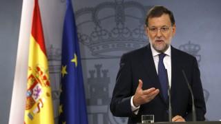 Madrid, 2015. szeptember 28. Mariano Rajoy spanyol kormányfõ sajtóértekezleten értékeli az elõzõ napi katalán választások eredményét Madridban 2015. szeptember 28-án. A csaknem végleges eredmények szerint a Junts pel Sí (Együtt az igenért) függetlenségi párttömörülés megnyerte Spanyolországban a katalán regionális parlamenti választásokat, és bejutott a törvényhozásba. (MTI/EPA/Sergio Barrenechea)