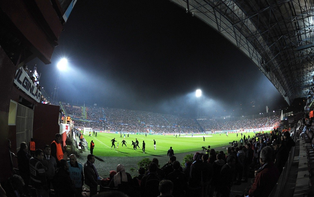 Spectators of the UEFA Champions League's group stage match between Trabzonspor Trabzon and CSKA Moscow. Huseyin Avni Aker Stadium, Turkey.