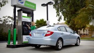 2012 Honda Civic Natural Gas at a public natural gas fueling station.