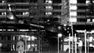"""An army helicopter with arab guerillas and hostages takes off from the Olympic village for Fürstenfeldbruck Air Base, on September 05, 1972 in Munich. Palestinian terrorists of the """"Black September"""" group had stormed the Israeli athletes quarters, during the Munich 1972 Olympic Games, killed two and took nine other members of the Israeli Olympic team hostages before a failed freeing action of the German police forces on the Fuerstenfeldbruck airport near Munich on September 06, leaving all hostages, five of the Palestinian kidnappers and a German policeman dead. / AFP / EPU / -"""