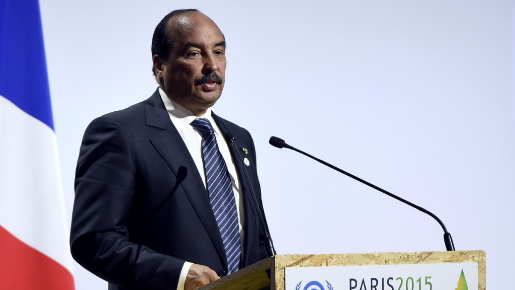 """Mauritanian President Mohamed Ould Abdel Aziz   delivers a speech during the opening day of the World Climate Change Conference 2015 (COP21), on November 30, 2015 at Le Bourget, on the outskirts of the French capital Paris. World leaders opened an historic summit in the French capital with """"the hope of all of humanity"""" laid on their shoulders as they sought a deal to tame calamitous climate change. AFP PHOTO / ALAIN JOCARD / AFP / ALAIN JOCARD"""