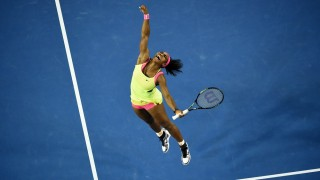 -- AFP PICTURES OF THE YEAR 2015 -- Serena Williams of the US celebrates after victory in her women's singles final match against Russia's Maria Sharapova on day thirteen of the 2015 Australian Open tennis tournament in Melbourne on January 31, 2015. AFP PHOTO / WILLIAM WEST-- IMAGE RESTRICTED TO EDITORIAL USE - STRICTLY NO COMMERCIAL USE / AFP / WILLIAM WEST