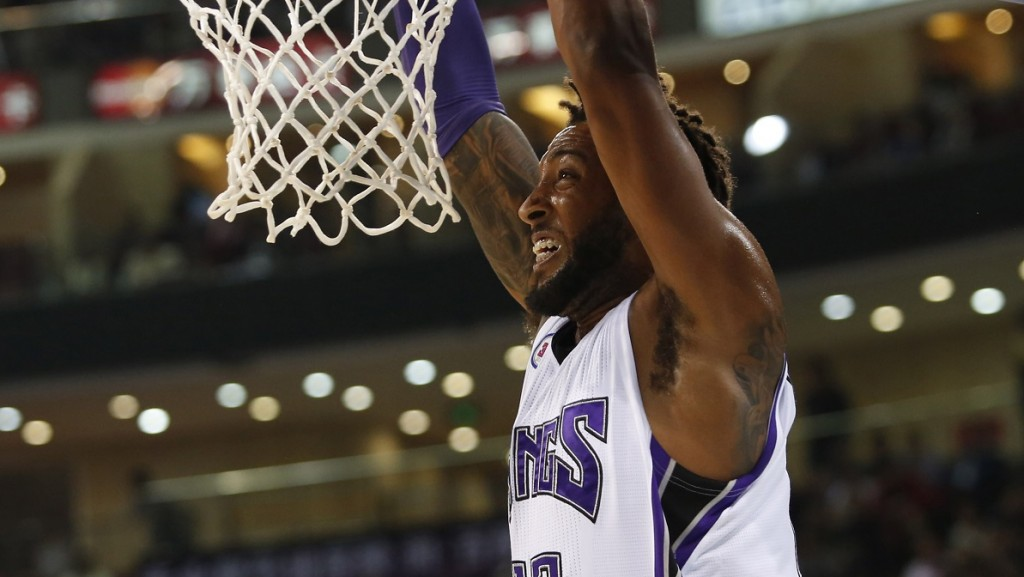 Derrick Williams of the Sacramento Kings scores a basket against the Brooklyn Nets during the 2014 NBA Global Games at the MasterCard Center in Beijing on October 15, 2014,         CHINA OUT        AFP PHOTO / AFP / STR