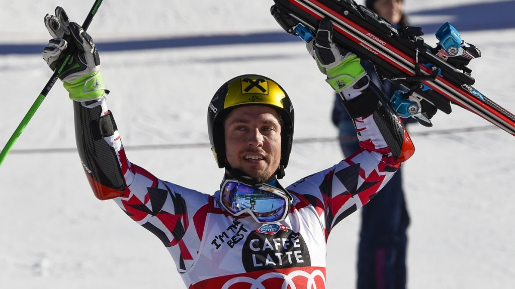 Austria's Marcel Hirscher celebrates as he won the FIS Alpine Skiing World Cup Men's Giant Slalom on December 20, 2015 in Alta Badia, northern Italy. AFP PHOTO / OLIVIER MORIN / AFP / OLIVIER MORIN