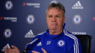 Chelsea's Dutch interim manager Guus Hiddink hosts a press conference at the club's training ground in Cobham, south west London, on December 23, 2015, ahead of their forthcoming English Premier League fixture against Watford on December 26.    AFP PHOTO / GLYN KIRK  RESTRICTED TO EDITORIAL USE. No use with unauthorized audio, video, data, fixture lists, club/league logos or 'live' services. Online in-match use limited to 75 images, no video emulation. No use in betting, games or single club/league/player publications. / AFP / GLYN KIRK