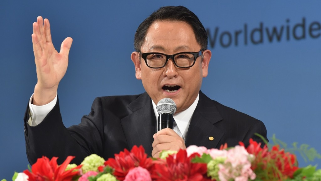 Japan's Toyota Motor Corporation President Akio Toyoda speaks during a press conference in Tokyo on November 26, 2015. Toyota Motor Corporation announced that it has signed an official sponsorship agreement with the International Paralympic Committee to serve as a Worldwide Paralympic Partner Sponsor through 2024, a period which includes the Tokyo Paralympic Games.   AFP PHOTO / KAZUHIRO NOGI / AFP / KAZUHIRO NOGI