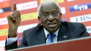 Outgoing IAAF leader Lamine Diack of Senegal attends a press conference during the Beijing 2015 IAAF World Championships at the National Stadium, also known as Bird's Nest, in Beijing, China, 30 August 2015. Photo: Michael Kappeler/dpa