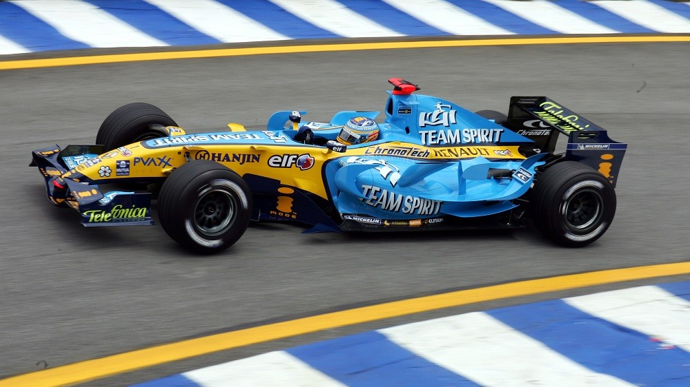 Spanish Formula One driver Fernando Alonso of Renault F1 team steers his car out of the pitlane during the first practice session at the racetrack in Interlagos near Sao Paulo, Brazil, Friday 20 October 2006. The Brazilian Grand Prix will take place on Sunday, 22 October. Photo: Ralf Hirschberger