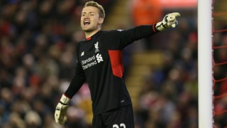 Liverpool's Simon Mignolet during the English championship Premier League football match between Liverpool and Swansea City played at The Anfield Stadium on November 29th 2015. Photo Paul Currie / Backpage Images / DPPI