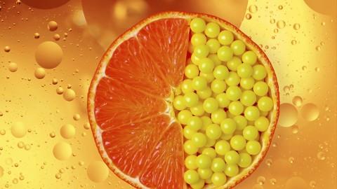 Vitamin pills in orange slice
