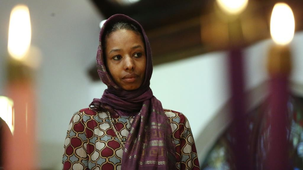 Larycia Hawkins, a Christian who is wearing a hijab over Advent in solidarity with Muslims, attends service at St. Martin Episcopal Church in Chicago on Sunday, Dec. 13, 2015. (Stacey Wescott/Chicago Tribune/TNS)