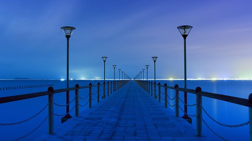 wood bridge to sea