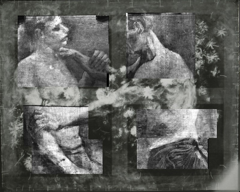"""This X-ray provided by the Kroeller Mueller Museum in Otterlo, Netherlands, Tuesday, March 20, 2012, shows an underlying image of two wrestlers on a painting entitled """"Still life with meadow flowers and roses"""" by Vincent van Gogh. The Kroeller Mueller Museum says new X-ray research has finally put beyond doubt that """"Still life with meadow flowers and roses"""" really is by Van Gogh. It has also uncovered in greater detail an art school study by Van Gogh of two wrestlers concealed on the same canvas and invisible to the naked eye. (AP Photo/Kroeller Mueller Museum, HO) EDITORIAL USE ONLY"""