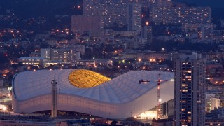 Picture taken on December 16, 2015 in Marseille, southern France, shows the Velodrome football stadium.  Marseille is one of the ten host cities for the Euro 2016 soccer finals that will be played from June 10, 2016 to July 10.  / AFP / BORIS HORVAT