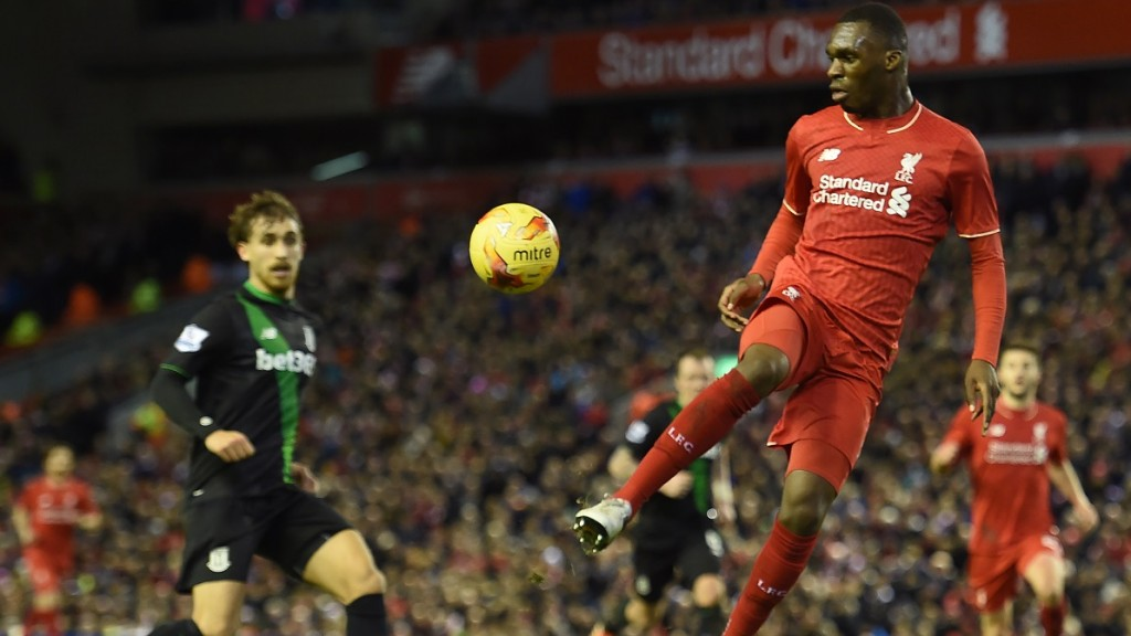 Liverpool's Zaire-born Belgian striker Christian Benteke controls the ball during the English League Cup semi-final second leg football match between Liverpool and Stoke City at Anfield in Liverpool, north west England, on January 26, 2016. / AFP / Paul ELLIS / RESTRICTED TO EDITORIAL USE. No use with unauthorized audio, video, data, fixture lists, club/league logos or 'live' services. Online in-match use limited to 75 images, no video emulation. No use in betting, games or single club/league/player publications.  /