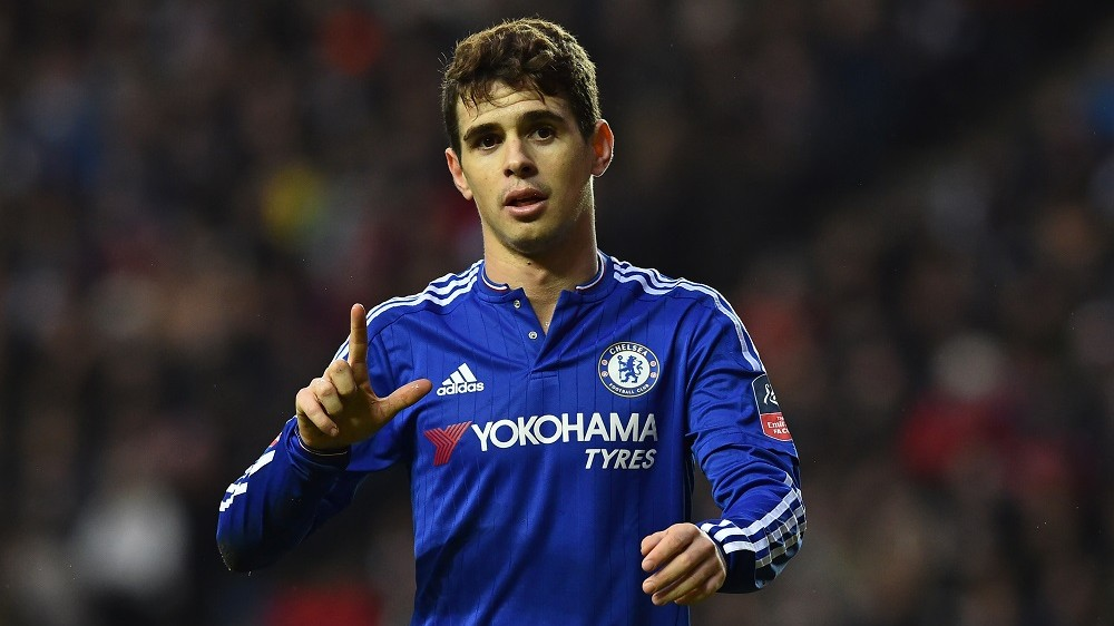 Chelsea's Brazilian midfielder Oscar celebrates after scoring his second goal during the English FA Cup fourth round football match between MK Dons and Chelsea at Stadium MK in Milton Keynes, central England, on January 31, 2016. / AFP / BEN STANSALL / RESTRICTED TO EDITORIAL USE. No use with unauthorized audio, video, data, fixture lists, club/league logos or 'live' services. Online in-match use limited to 75 images, no video emulation. No use in betting, games or single club/league/player publications.  /