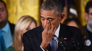 US President Barack Obama gets emotional as he delivers a statement on executive actions to reduce gun violence on January 5, 2016 at the White House in Washington, DC. AFP PHOTO/JIM WATSON / AFP / JIM WATSON