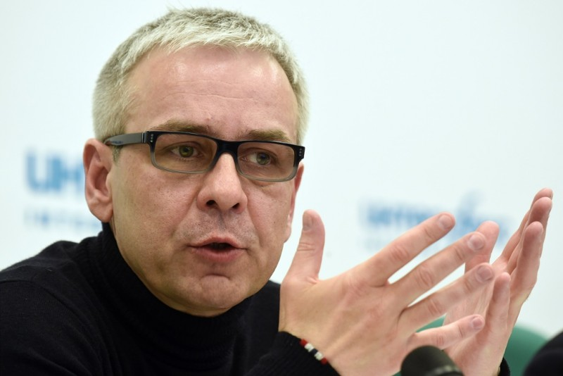 Businessman Dmitry Kovtun, a suspect in the murder of former Russian intelligence officer Alexander Litvinenko, speaks during a press conference in Moscow on April 8, 2015 regarding his participation in the British inquiry into the radiation death. AFP PHOTO / DMITRY SEREBRYAKOV / AFP / DMITRY SEREBRYAKOV