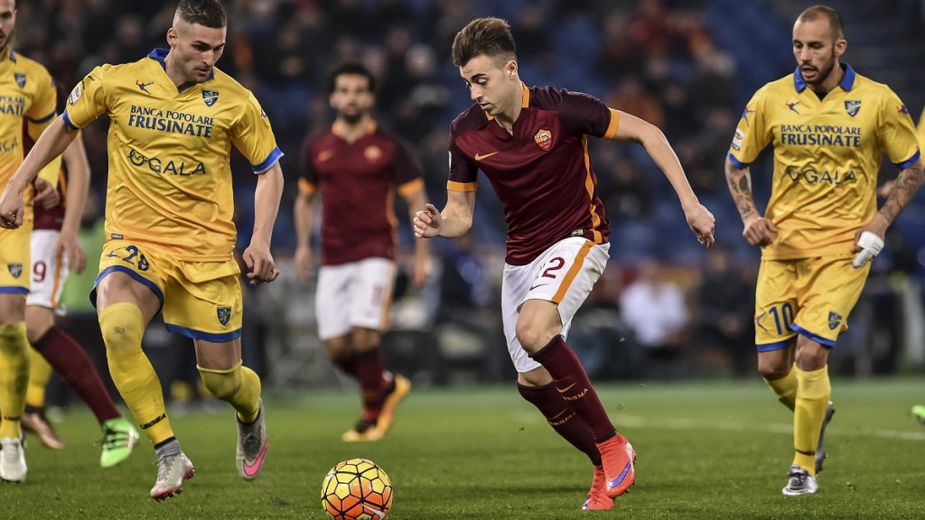 ITALY, Rome: AS Roma's Stephan El Shaarawy controls the ball during the game against Frosinone at Stadio Olimpico in Rome, Italy on January 30, 2016. Roma would go on to defeat Frosinone 3-1, marking the first victory for new coach Luciano Spalletti. El Shaarawy scored one of Roma's three goals. - CITIZENSIDE/GIUSEPPE MAFFIA