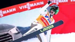 Peter Prevcof Slovenia celebrates after winning the third stage of the Four Hills ski jumping tournament in Innsbruck, Austria, 03 January 2016. Photo: Daniel Karmann/dpa
