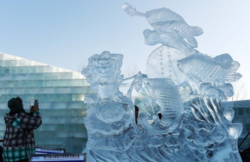 (160108) -- HARBIN, Jan. 8, 2016 (Xinhua) -- Photo taken on Jan. 8, 2016 shows a prize-winning ice sculpture during an international ice sculpture contest in Harbin, capital of northeast China's Heilongjiang Province. Thirty teams from 11 countries participated in the contest. (Xinhua/Wang Jianwei) (dhf)