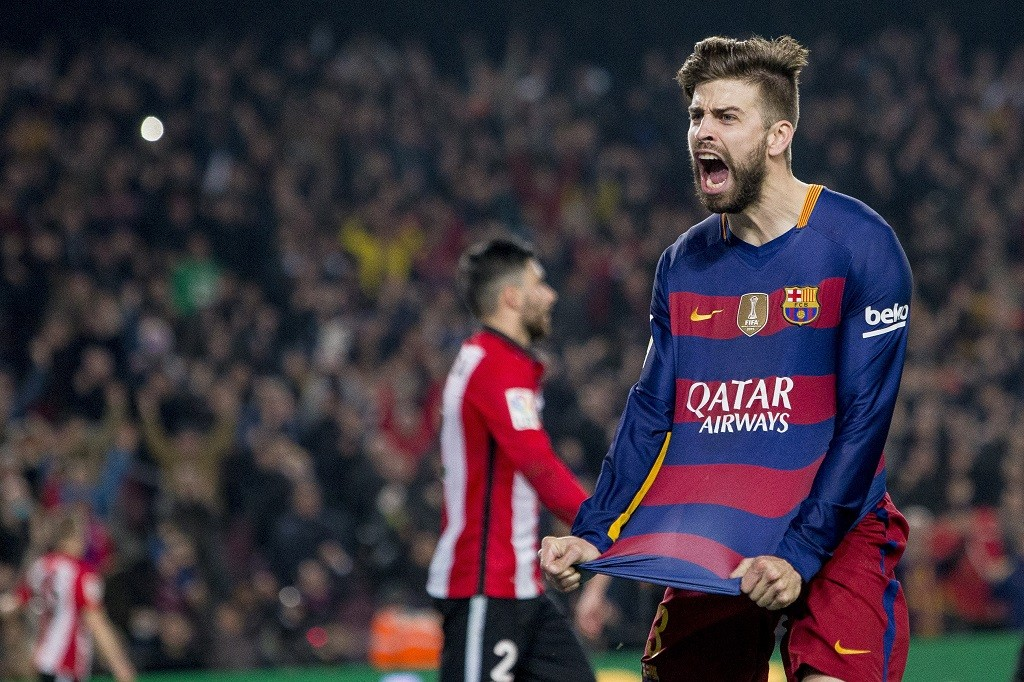 BARCELONA, SPAIN - JANUARY 27: Barcelona's Gerard Pique cellebrating his score during the Spanish Copa del Rey (King's Cup) quarter-final second leg football match between FC Barcelona and Athletic Club Bilbao at the Camp Nou Stadium in Barcelona, Spain on January 27, 2016. Albert Llop / Anadolu Agency