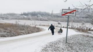 Hárskút, 2016. január 3.Gyerekek szánkóznak Hárskút határában 2016. január 3-án.MTI Fotó: Nagy Lajos