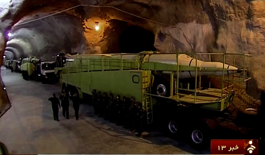 """An image grab taken from footage broadcast on the Islamic Republic of Iran News Network (IRINN) on October 14, 2015 reportedly shows missile launchers in an underground tunnel at an unknown location in Iran. The images of the base, seen for the first time, show a giant tunnel, some ten metres high, packed with missile launchers. AFP PHOTO / IRINN  === RESTRICTED TO EDITORIAL USE - MANDATORY CREDIT """"AFP PHOTO / HO / IRINN"""" - NO MARKETING NO ADVERTISING CAMPAIGNS - DISTRIBUTED AS A SERVICE TO CLIENTS FROM ALTERNATIVE SOURCES, AFP IS NOT RESPONSIBLE FOR ANY DIGITAL ALTERATIONS TO THE PICTURE'S EDITORIAL CONTENT, DATE AND LOCATION WHICH CANNOT BE INDEPENDENTLY VERIFIED ===   / AFP / IRINN / HO"""