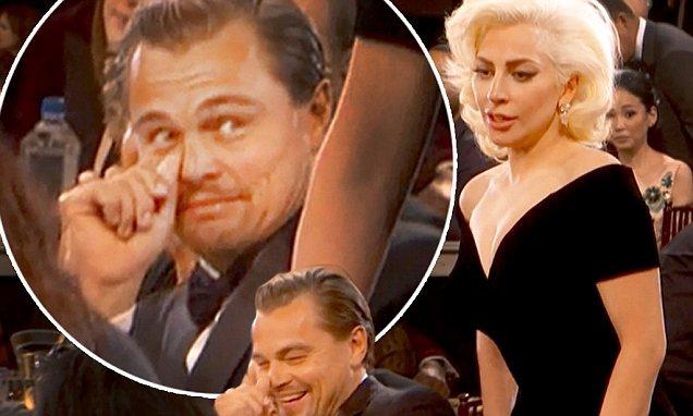leonardo dicaprio reaction when lady gaga bumps into him