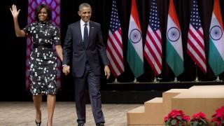 Újdelhi, 2015. január 27. Barack Obama amerikai elnök és neje, Michelle Obama a Siri Fort Auditóriumban Újdelhiben 2015. január 27-én. Obama háromnapos látogatáson tartózkodik Indiában. (MTI/AP/Karolyn Kaster)
