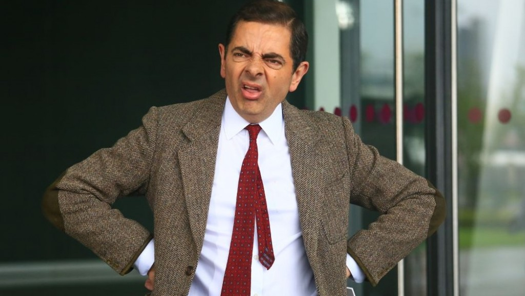 English actor Rowan Atkinson plays Mr. Bean during a filming session for a TV commercial at the Mercedes-Benz Arena in Shanghai, China, 20 August 2014.