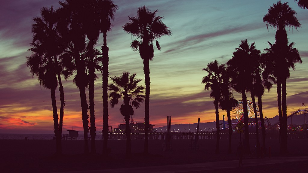 Sunset colors with palms silhouettes in Santa monica, Los angeles. concept about travels