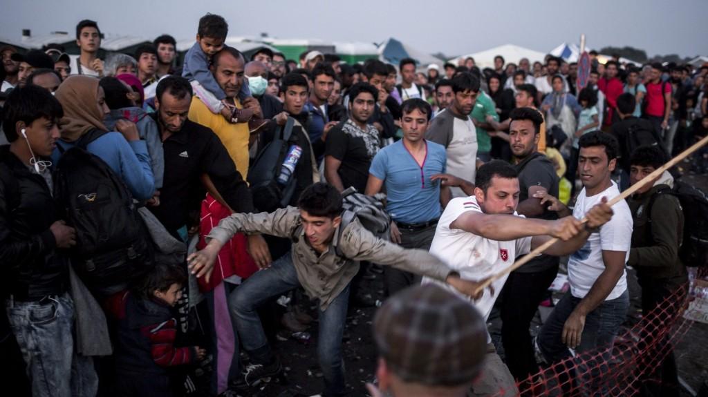 Röszke, 2015. szeptember 13. Egy dulakodó migráns kezébõl botot csavar ki egy önkénes segítõ, miközben buszra várnak a röszkei Dugonyi úti rendõrségi gyûjtõponton 2015. szeptember 13-án. MTI Fotó: Mohai Balázs