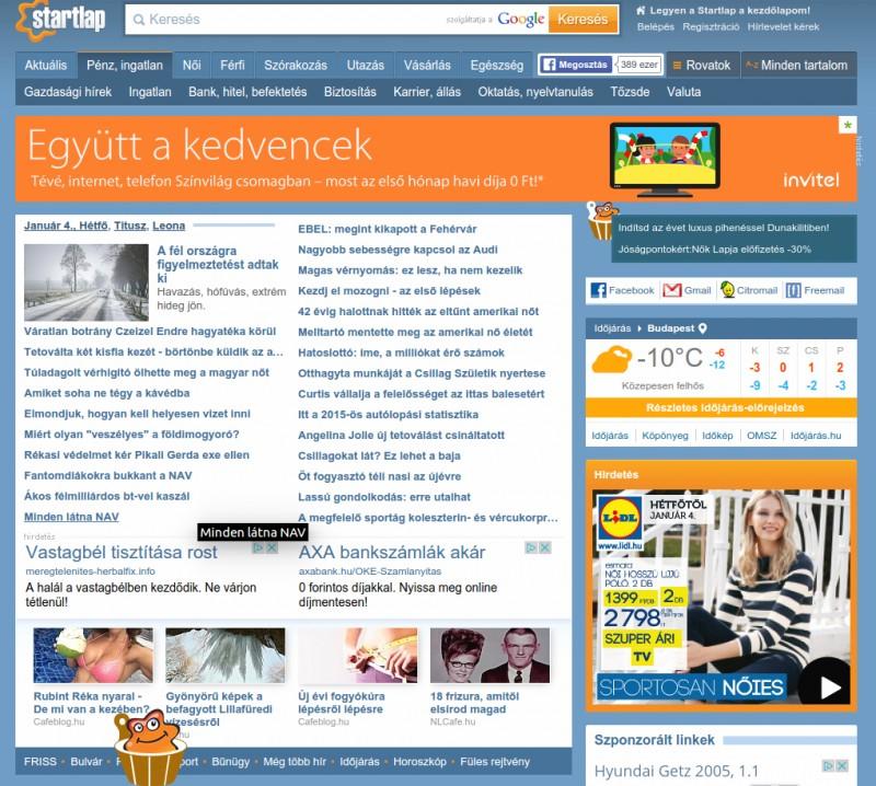 A Startlap nyitóoldala - az itt megjelenő hírekre van befolyása a Lakmusznak