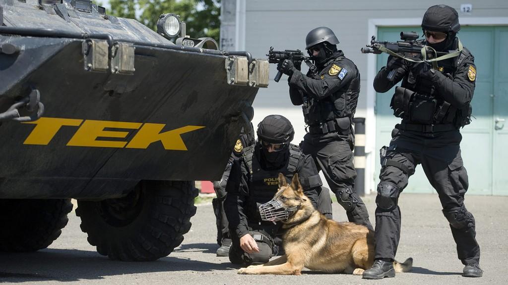 Budapest, 2013. július 9.A Terrorelhárítási Központ (TEK) rendőrei kiképzésen vesznek részt rendőrkutyájukkal egy BTR-80 típusú páncélozott szállító harcjármű mellett budapesti bázisukon 2013. július 9-én.MTI Fotó: Koszticsák Szilárd