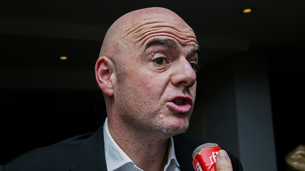 UEFA vice-president and candidate for the FIFA presidency Gianni Infantino adresses journalists follozing a kmeeting of African football confederation (CAF) on its supported candidate for the Fifa presidency in Kigali on February 5,2015.   The CAF declared  its support to Sheikh Salman Bin Ebrahim Al-Khalifa. / AFP / CYRIL NDEGEYA