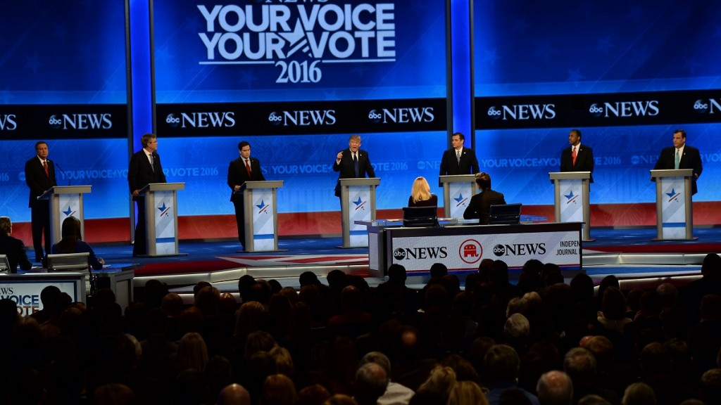 Republican presidential candidates participate in the Republican Presidential Candidates Debate February 6, 2016 at St. Anselm's College Institute of Politics in Manchester, New Hampshire. From left are: John Kasich, Jeb Bush, Marco Rubio, Donald Trump, Ted Cruz, Ben Carson, and Chris Christie. Seven Republicans campaigning to be US president are in a fight for survival in their last debate Saturday before the New Hampshire primary, battling to win over a significant number of undecided voters. / AFP / JEWEL SAMAD
