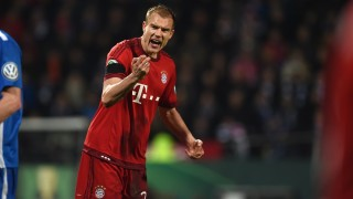 Bayern Munich's defender Holger Badstuber reacts during the German Cup (DFB Pokal) quarter final football match Vfl Bochum v Bayern Munich on February 10, 2016 in Bochum, western Germany. / AFP / PATRIK STOLLARZ / RESTRICTIONS: ACCORDING TO DFB RULES IMAGE SEQUENCES TO SIMULATE VIDEO IS NOT ALLOWED DURING MATCH TIME. MOBILE (MMS) USE IS NOT ALLOWED DURING AND FOR FURTHER TWO HOURS AFTER THE MATCH. == RESTRICTED TO EDITORIAL USE ==  FOR MORE INFORMATION CONTACT DFB DIRECTLY AT +49 69 67880  /