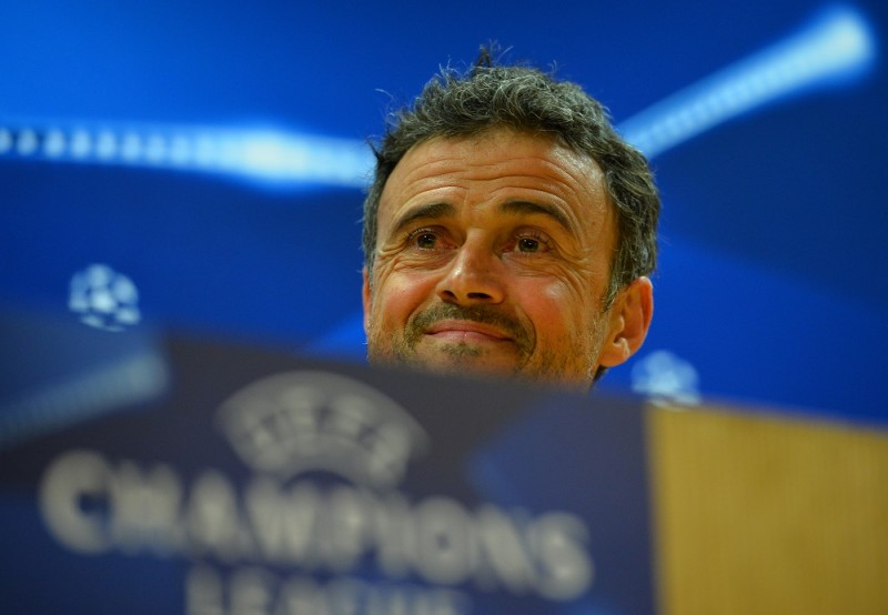 Barcelona's coach Luis Enrique attends a press conference ahead of the UEFA Champions League round of 16 1st leg football match against Arsenal, at the Emirates Stadium in London on February 22, 2016.   Barcelona will play Arsenal at the Emirates Stadium in London on Tuesday February 23, 2016. / AFP / GLYN KIRK