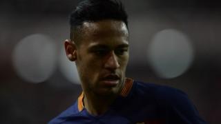 Barcelona's Brazilian forward Neymar looks on during the Spanish league football match Real Sporting de Gijon vs FC Barcelona at El Molinon stadium in Gijon,  on February 17, 2016. Barcelona won the match 3-1.  AFP PHOTO / MIGUEL RIOPA / AFP / MIGUEL RIOPA