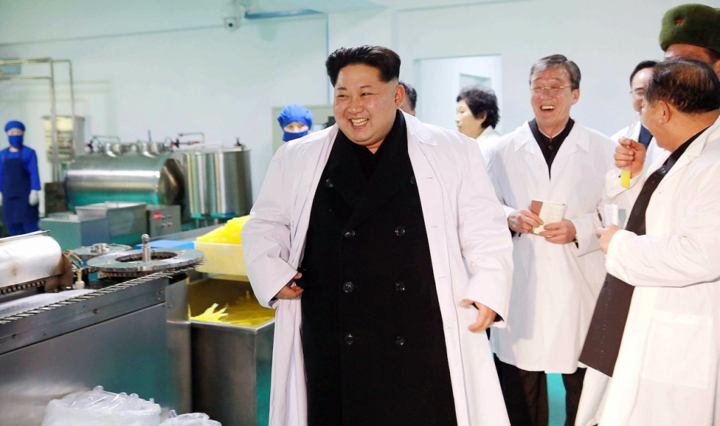 """This undated picture released from North Korea's official Korean Central News Agency (KCNA) on January 24, 2016 shows North Korean leader Kim Jong-Un inspecting the Gold Cup athletes comprehensive food factory in Pyongyang. AFP PHOTO / KCNA via KNS    REPUBLIC OF KOREA OUT THIS PICTURE WAS MADE AVAILABLE BY A THIRD PARTY. AFP CAN NOT INDEPENDENTLY VERIFY THE AUTHENTICITY, LOCATION, DATE AND CONTENT OF THIS IMAGE. THIS PHOTO IS DISTRIBUTED EXACTLY AS RECEIVED BY AFP. ---EDITORS NOTE--- RESTRICTED TO EDITORIAL USE - MANDATORY CREDIT """"AFP PHOTO / KCNA VIA KNS"""" - NO MARKETING NO ADVERTISING CAMPAIGNS - DISTRIBUTED AS A SERVICE TO CLIENTS / AFP / KCNA / KNS"""