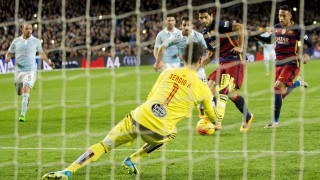 BARCELONA, SPAIN - FEBRUARY 14 :  Barcelona's Luis Suarez scores a goal during the Spanish football league match between FC Barcelona and RC Celta de Vigo at the Camp Nou Stadium in Barcelona, Spain on February 14, 2016. Albert Llop / Anadolu Agency