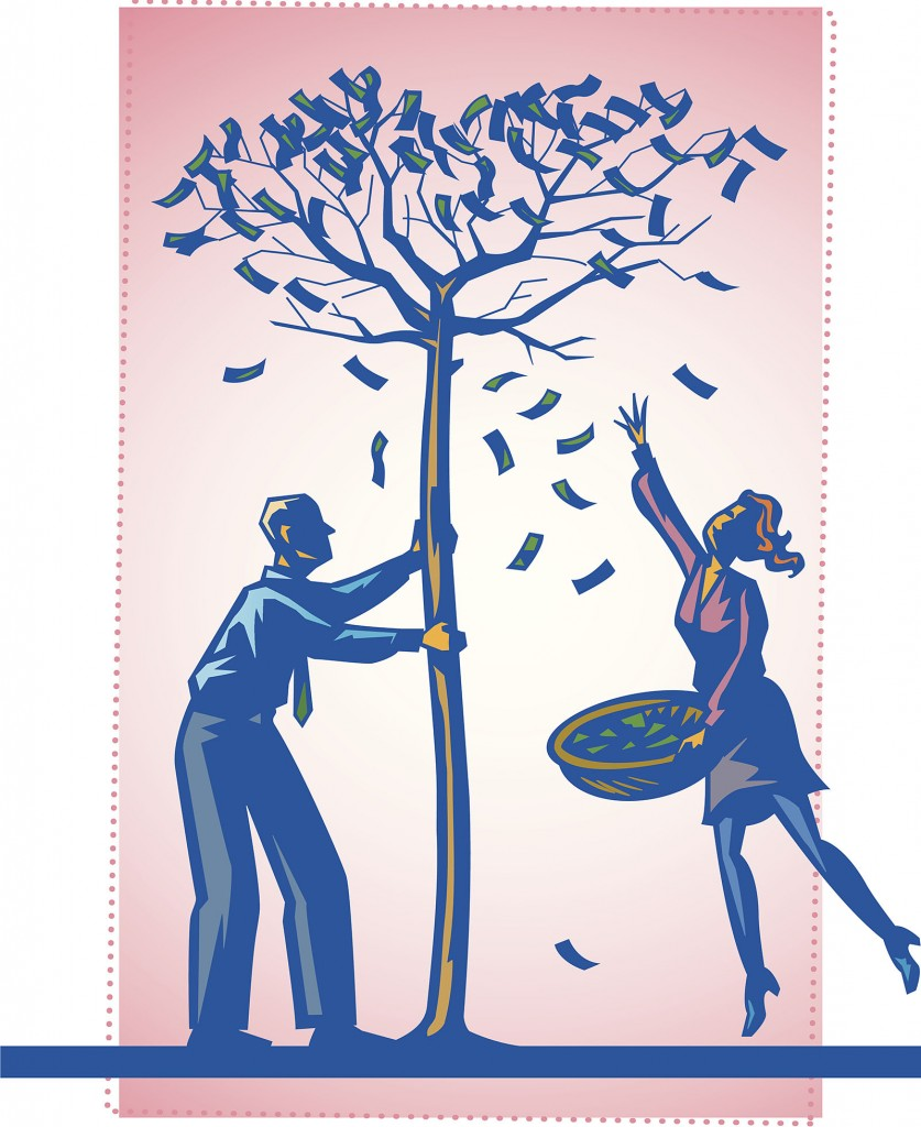 Couple under a money tree, man is shaking it, woman has a basket, Color